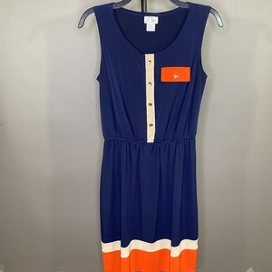 Sweet Storm Navy Blue, Beige, and Orange Dress M